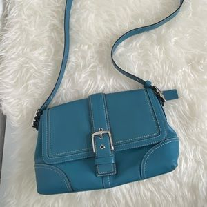 Coach Hampton Blue Leather Shoulder Bag